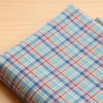 ผ้าคอตต้อนเกาหลี ลายตาราง Vintage Blue ผ้าฝ้าย 100% 30s ตัดขายขนาด 110x90 cm