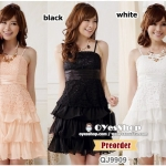 Preorder ชุดเดรสราตรีไซส์ใหญ่ สีชมพู ดำ ขาว XL-3XL