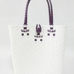 กระเป๋า ก้นเหลี่ยม หูสีม่วง (AU-F4)ขนาดโดยประมาณ กว้าง 10 cm.ยาว 35 cm.สูง 34 cm.