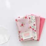 ผ้าคอตต้อนเกาหลีจัดเซต pink Chevy four kinds ขนาด 27.5x45cm จำนวน 4 ชิ้น