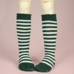 Green & White Stripe Stocking