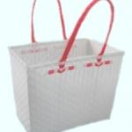 ตะกร้าจ่ายตลาด กลาง สีขาว หูแดง(JLM-F04)