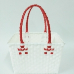 ตะกร้าจ่ายตลาด เล็ก สีขาว หูแดง (JLS-02)