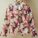 Zara floral print เสื้อคลุม แขนยาว ลายดอกไม้ พื้นสีส้ม