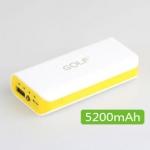 แบตเตอรี่สำรองพกพา สำหรับมือถือ ยี่ห้อ GOLF 5200mAh รุ่น 802 สีเหลือง