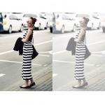 เดรสยาว แขนกุด ผ้ายืด สไตล์เกาหลี สีดำสลับขาว ด้านหลังเป็บริ้วแถบสีดำ