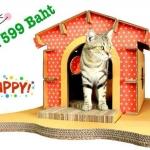 บ้านแมวกระดาษ DIY สีส้ม