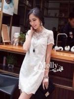 See-Through Embroidery Dress เดรสผ้าลูกไม้ซีทรู สีขาว / ดำ