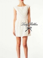 Lady Ribbon Lady Margaret White Lace Mini Dress