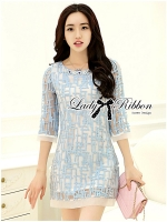 Lady Ribbon Embroidered Organza Dress