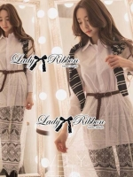 Lady Ribbon เสื้อเชิ้ตแขนยาว สีขาว ต่อผ้าลูกไม้ซีทรูเป็นกระโปรงยาว