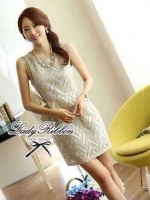 Lady Ribbon Pearly Graphic Embroidery Mini Dress โทนสีฟ้า-ครีม