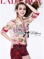 Lady Ribbon Floral Silk-Chiffon Crop Top