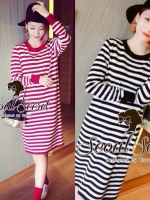 Seoul Secret Korea Chicly Stripe Maxi Knit