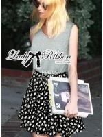 Lady Ribbon เดรสแขนกุด สีเทา สีดำ ตัดต่อกระโปรงลายดอกไม้