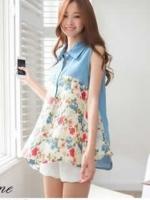 เสื้อคอปก สีฟ้า ตัดต่อผ้าชีฟอง พิมพ์ลายดอกไม้