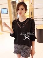 Lady Ribbon เสื้อแขนยาว แต่งลูกไม้ ช่วงอกเสื้อและแขนเสื้อ สีขาว สีดำ