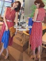 Odee Cutie Maxi Dress เดรสยาวสีแดง ลายดอก พร้อมเข็มขัดเข้าเซ็ท