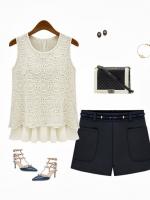 Cherry Dress เสื้อชีฟอง สีขาว ตัดต่อผ้าถักลายดอกไม้