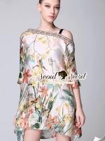 Seoul Secret Chic Bohe Oblique Shoulders Dress