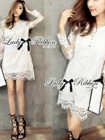 Lady Ribbon Pretty Botton-Down Lace Dress