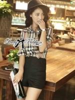 Lady Ribbon Plaid Shirt and Shorts Set