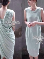 Lady Ribbon Jersey Dress เซ็ตเดรสผ้ายืดเกาะอก สีเขียว/สีดำ