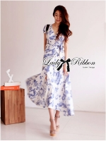 Lady Ribbon Floral Print Maxi Wrap Dress