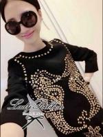 Lady Ribbon Black Dress Seahorse Gold Stud มินิเดรสสีดำ ปักหมุด