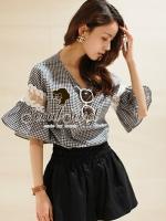 Seoul Secret เสื้อผ้าคอตตอนลายสก็อต แต่งผ้าลูกไม้และผ้าแก้ว