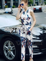 Lady Ribbon Tropical Summery Printed Jumpsuit