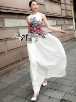 Lady Ribbon Elegant Flower Blooming Printed Maxi Dress