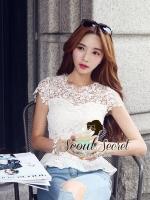Seoul Secret เสื้อลูกไม้ทอลายดอกเดซี่เล็กๆ