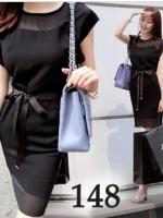 Classic Style เดรสสีดำ ผ้าชีฟอง พร้อมเชือกผูกโบว์ที่เอว