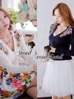 Seoul Secret เสื้อคาร์ดิแกน ผ้าไหมพรมประดับเพชรหลากสี