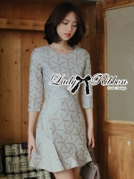 Lady Ribbon Glam Asymmetric Brocade Dress