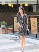 IceVanilla Modern Lines V-neck Dress with Belt