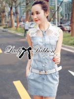 Lady Ribbon Flower Embellished Denim Shirt Dress with Belt