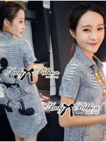 Lady Ribbon Mickey Printed Embellished Denim Shirt Dress