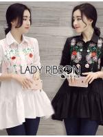 Lady Ribbon เสื้อเชิ้ตยาวปักลายดอกไม้
