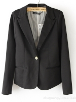ZARA : WOMAN Blazer ผ้า CottonผสมSpandex กระดุมหน้า สีดำ (Size M)