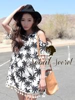 Seoul Secret เดรสเปิดไหล่ ผ้าพิมพ์ลายใบมะพร้าว แต่งพู่