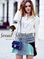 Seoul Secret ชุดเซ็ท เสื้อเชิ้ต กระโปรงผ้าทอแต่งโซ่ทอง