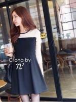 Cliona มินิเดรสแขนยาว ผ้า cotton โทนสีขาวดำ