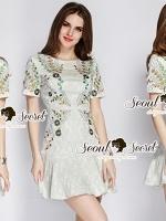 Seoul Secret Dress เดรสผ้าทอปักลายดอกไม้