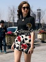 Seoul Secret Set Black Blouse with Blossom Pants