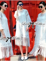Lady Ribbon Bohemian Fringed Lace Midi Dress