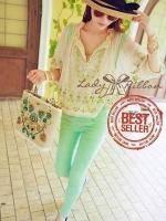 Lady Ribbon Bohemian pastel blouse เสื้อปักดอกไม้ สีพาสเทล
