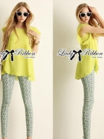 Lady Ribbon Chic Lemon Blouse and Pattern Pants Set
