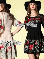 Lady Ribbon Floral Embroidered Draping Chiffon Dress